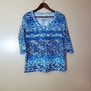 Onque Casuals Textured Blue Mid-Sleeve Top